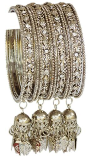 Indian Bollywood Bracelets Set Silver Traditional Wedding Wear Latkan Bracelets Set