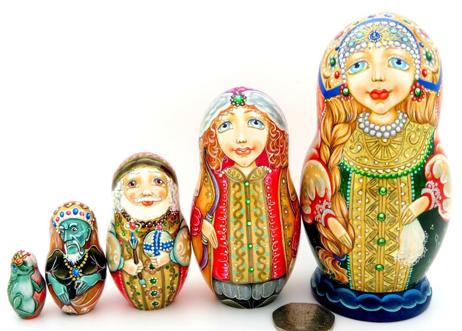 Fairy Tale Frog Princess Russian hand painted 5 nesting dolls signed Pokrovskaya