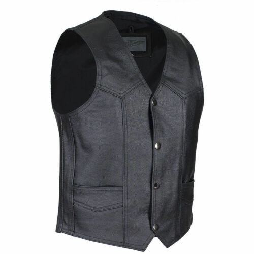 M Biker Kids 8 Childs Boys Black Leather Motorcycle Vest