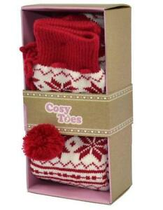 COSY-TOES-RED-AND-WHITE-JACQUARD-LADIES-KNITTED-BOOT-SOCKS-SIZE-4-7-GIFT-ADULTS