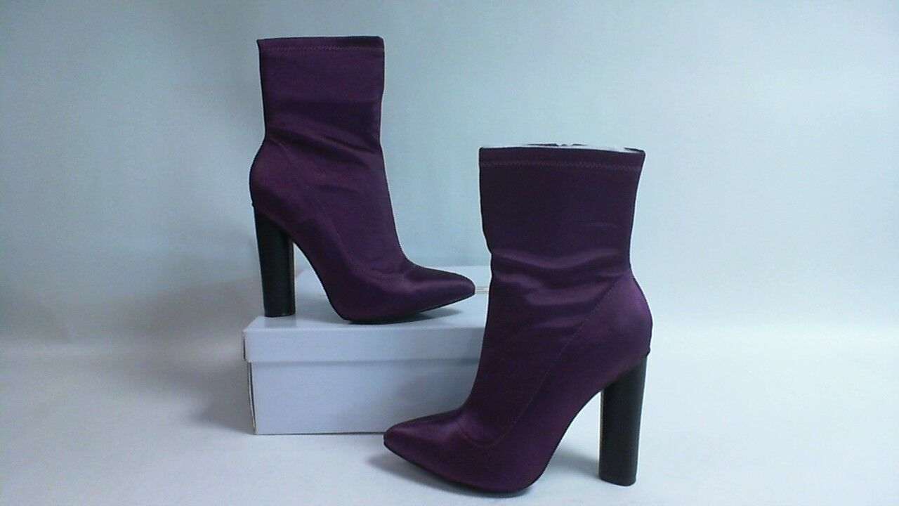 Truffle Collection Womans High Satin Lycra Ankle Boots - Purple - UK Sizes 3 - 8