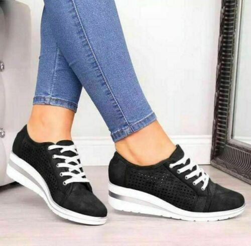 Womens Breathable Wedge Heel Trainers Lace Up Sneakers Casual Sports Comfy Shoes