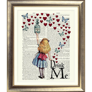 DICTIONARY-PAGE-ART-PRINT-VINTAGE-ANTIQUE-BOOK-Alice-in-Wonderland-Picture-Quote