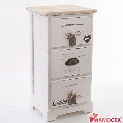Sito Ufficiale Mobiletto Cassettiera Legno Home Love 3 Cassetti 29x25 H56 Bianco Shabby Chic Rinfrescante E Benefico Per Gli Occhi