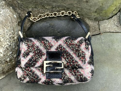 Fendi Two-Tone Fuzzy Wool & Embellished Sequin Bag