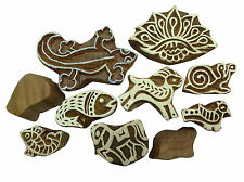 Indian Pottery Stamp Textile Printing Block Handcarved Wood Block Lot Of 10 Pcs