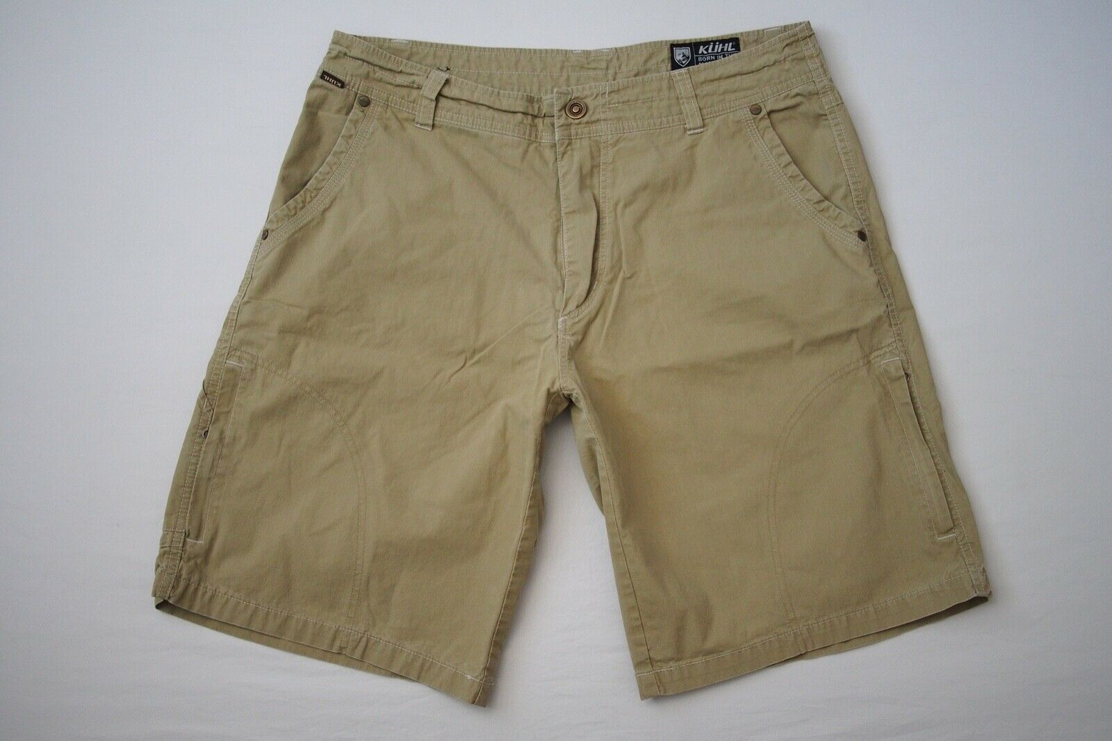 Kuhl Khaki Brown Vintage Patina Dye Hiking Trekking Outdoor Work Shorts Mens 34