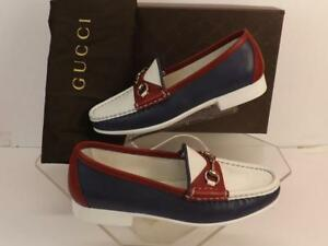 49189cefecd NIB GUCCI RAFER WHITE BURGUNDY NAVY LEATHER HORSEBIT  338358 LOAFERS ...
