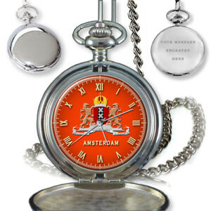 CITY-OF-AMSTERDAM-COAT-OF-ARMS-NETHERLANDS-POCKET-WATCH-GIFT-ENGRAVING