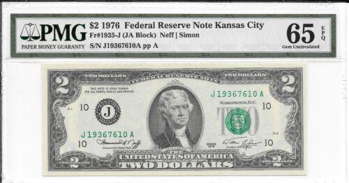 1976 Kansas City $2 FRN JA Block PMG 65 EPQ Gem Uncirculated