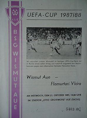 Flamurtari Vlora Programm UEFA Cup 1987//88 Wismut Aue