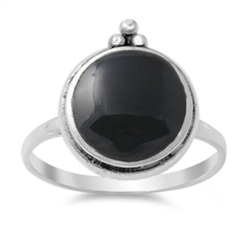 Solid Circle Black Onyx .925 Sterling Silver Ring Sizes 4-10