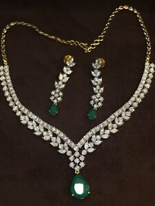 Fine Jewelry Pave 14.26 Carats Round Brilliant Diamonds Emerald Necklace Earrings In 14k Gold Top Watermelons