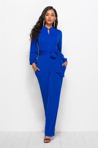 Women Long Sleeve Button Jumpsuit Wide Leg Pants Romper Belt Playsuit Cocktail