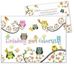 Das Bild Wird Geladen 8 Einladungskarten Lustige Eulen Set Kindergeburtstag  Maedchen Jungen