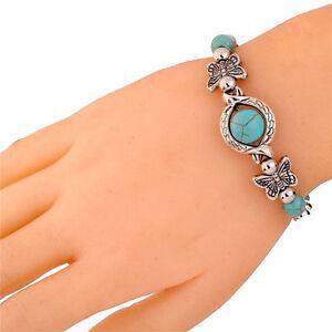 Sweet-Tibetan-Silver-Bracelet-Turquoise-Inlay-Butterfly-Bead-Adjust-BangleO-LD