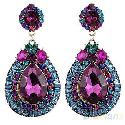 Women Full Colorful Dangle Waterdrop Rhinestone Stud Earrings Elegant Jewelry