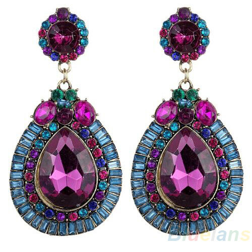 Women Full Colorful Dangle Waterdrop Rhinestone Stud Earrings Beautyful Jewelry