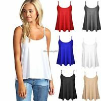 NEW WOMENS PLAIN STRAPPY SLEEVELESS LADIES SWING CAMI VEST TOP T-SHIRT SIZE 6-18