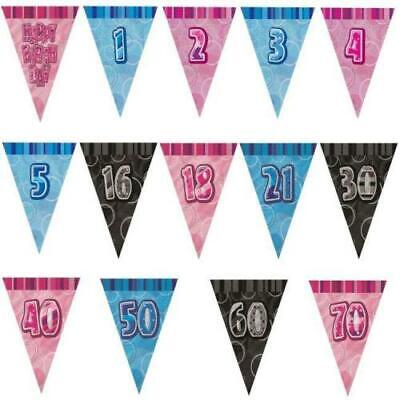 9ft PINK Glitz 30th Birthday Pennant Flag Banner Bunting Decoration