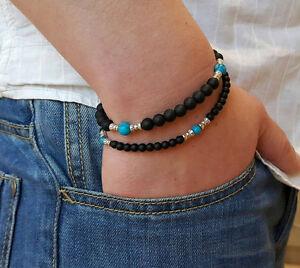 Handmade-Matte-Black-Onyx-Turquoise-Beaded-BRACELET-Lava-Rock-4MM-6MM-1SET