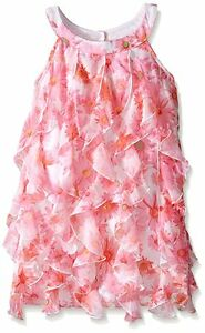 6bafd637cedf KATE MACK Girls Pink Dottie Daisy Floral Chiffon Ruffle Cascade ...