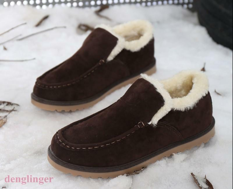 Mens Fur Lined Faux Suede Slip On Loafers Warm shoes Winter  Snow shoes Outdoor