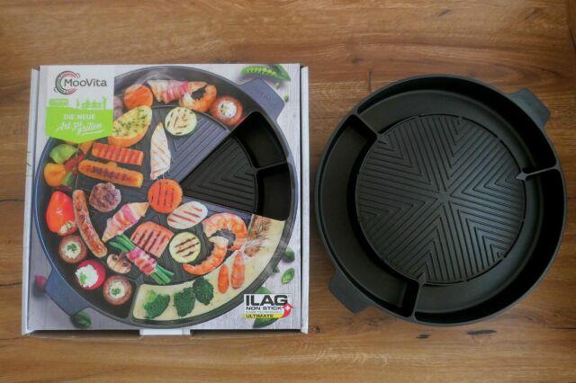 MooVita Tischgrill Grillplatte für Gaskocher, rauchfreier Grill, Thaigrill