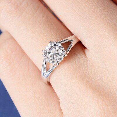 Modest 0.7ct Round Cut Vvs1d Diamond Engagement Ring 14k White Gold Finish Split Shank To Have A Long Historical Standing Diamond