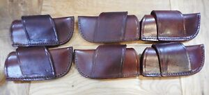 Lot of 6 Leather knife sheaths cross draw - second quality - holds a Buck 110.