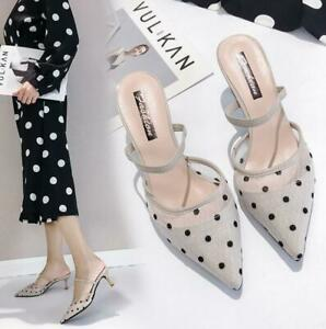 Fashion-Womens-Breathable-Pointed-Toe-Mesh-Polka-Dot-High-Heel-Sandals-Slippers