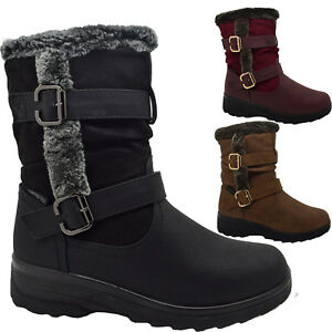 hot-selling latest wholesale special discount Details about Women Ladies Mid Calf Winter Warm lined Flat Tread Sole  Comfortable Snow Boots