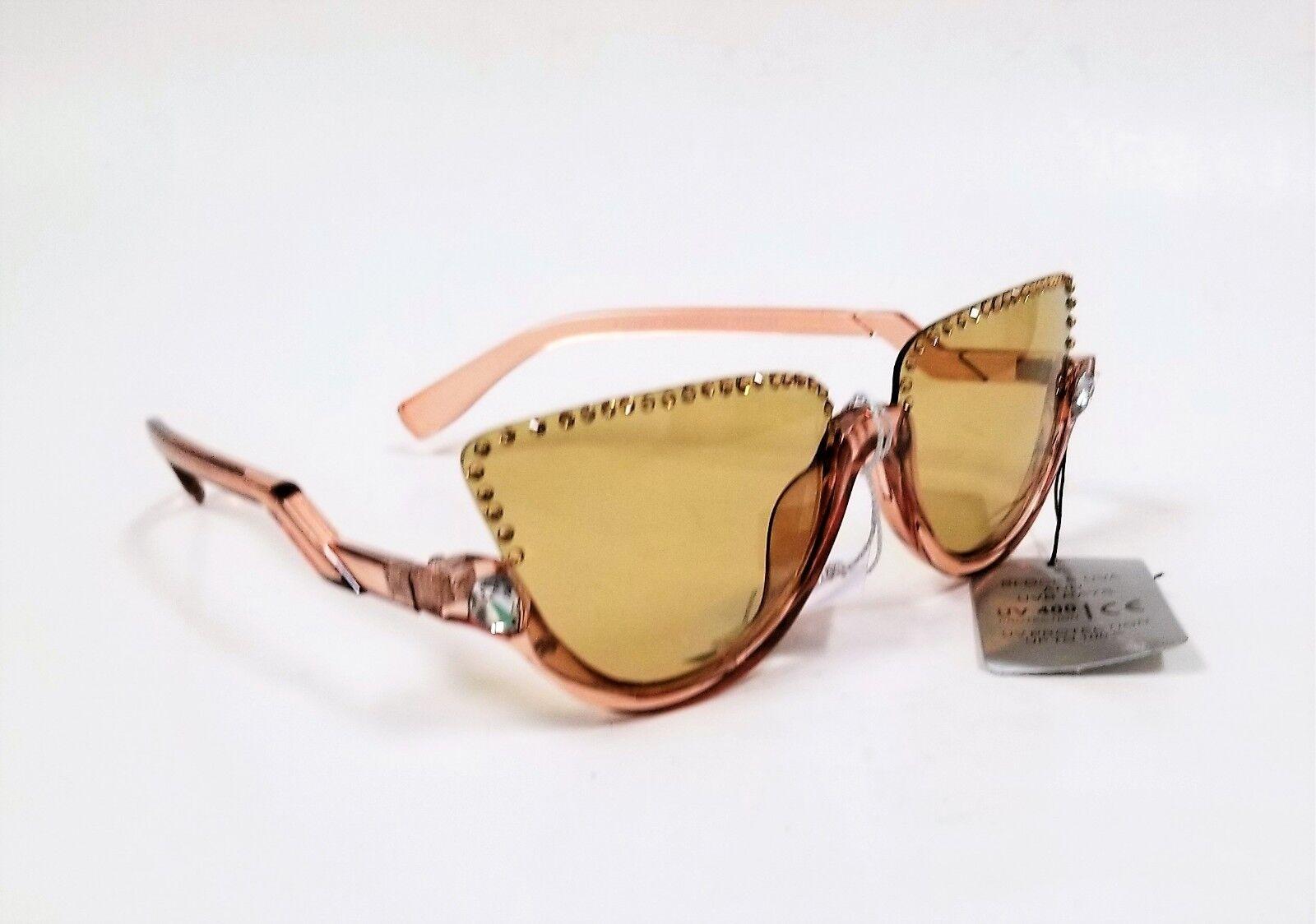 Neu Gelb-Braun Plastik, Swarovski Kristall 100% UV Linse Sonnenbrille     | Offizielle Webseite  | Sonderpreis  | München Online Shop