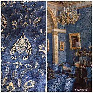 SALE-Designer-Upholstery-Chenille-Velvet-Fabric-Blue-Gold