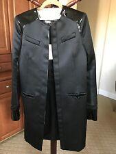 100% Auth NWT BALENCIAGA black satin & patent leather OPEN Coat Jacket F40