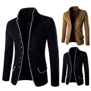 Fashion-Men-Casual-Slim-Stand-Collar-Blazer-Coat-Suit-Button-Jacket-Overcoat-Top