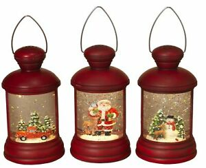 Red-Christmas-Winter-Scene-Spinning-Water-Snow-Globe-Lanterns-Set-with-Timer