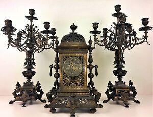 2019 DernièRe Conception Horloge A Poser Et Chandeliers. Gustav Becker. 363422. Allemagne. Circa 1850