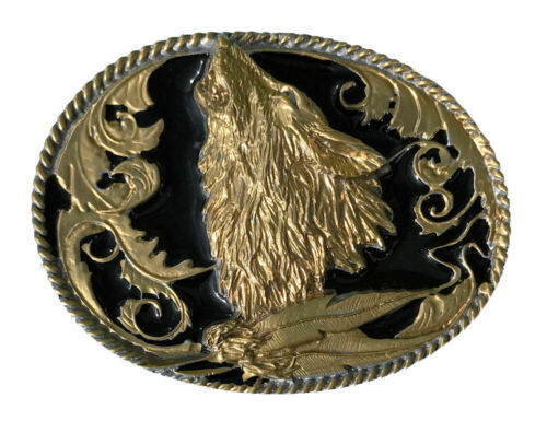 Wolf Head Belt Buckle Black /& Gold Edition