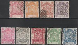 NORTH-BORNEO-1889-SET-OF-9V-CTO-ISC-CAT-RM-580-AS-POSTALLY-USED