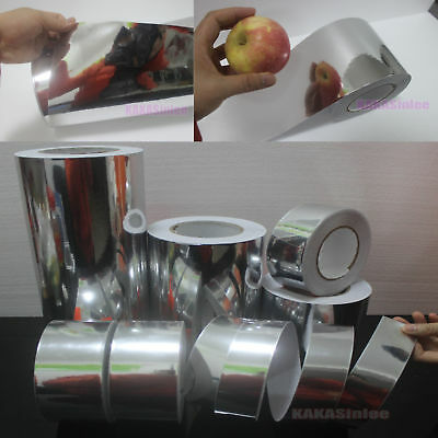Adhesive PVC Glossy Mirror Chrome Silver Vinyl Tape Car Wrap Film Bubble Free
