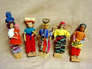 5 Small Vintage HANDMADE DOLLS South or Latin American Souvenirs