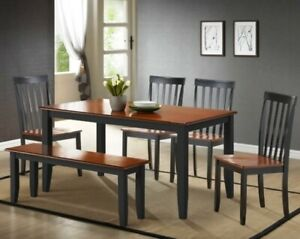 6 Pc Black Cherry Finish Dining Set Kitchen Table Chairs Bench Wood Furniture 753760683623 Ebay