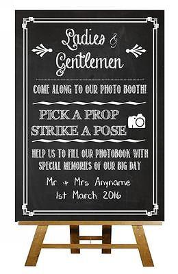 Chalkboard Photobooth Photo Vintage Personalised Wedding Sign / Poster