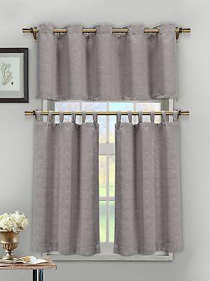 Silver 3 Piece Textured Cotton Blend Jacquard Kitchen Window Curtain Set NWOP