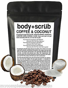 Organic Coffee & Coconut Body Scrub Reduce Cellulite Acne Stretch Marks More ❉