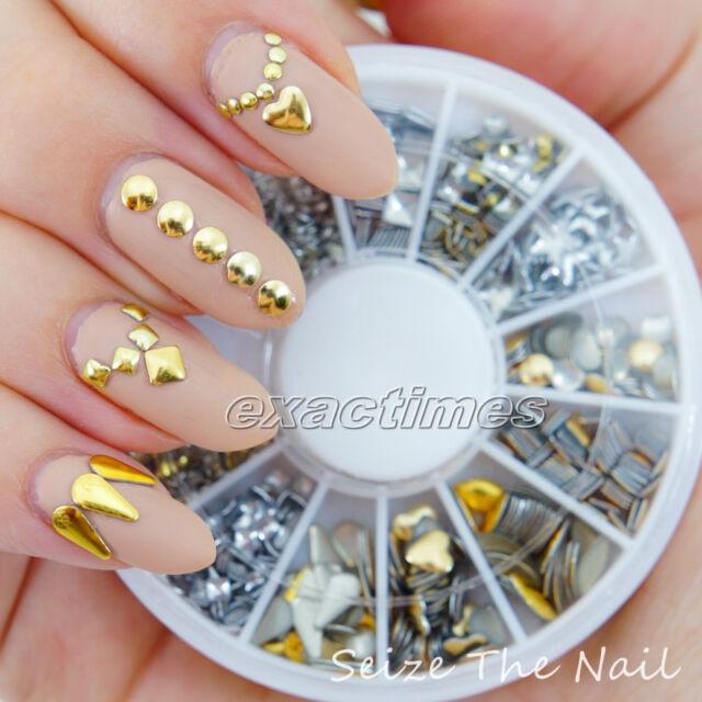 Nail Art Metallic Studs Heart Square Round Hollow Rhinestone Acrylic Tips Stud