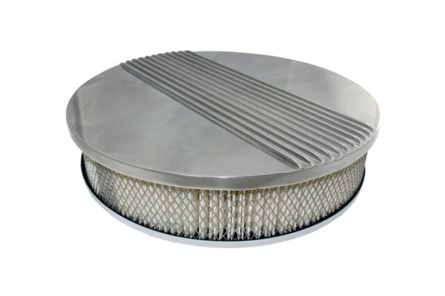 """CHEVY/FORD/MOPAR 14"""" ROUND POLISHED ALUMINUM AIR CLEANER - RETRO FINNED recessed"""