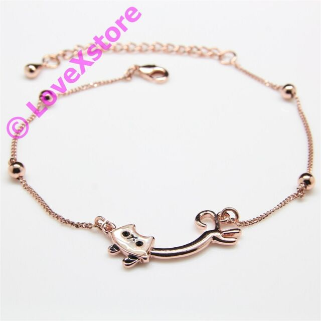 18K Rose Gold Plated Long Body Cat Chain Anklet Fashion 18-K Anklets