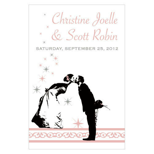 24 Vintage Hollywood Personalized Wedding Wine Bottle Labels